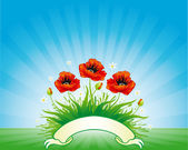 Background with poppy and banner — Vector de stock