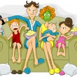 Family watching TV — Stock Vector