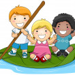 Children on Leaf Boat — Vector de stock #2432124
