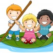 Stock Vector: Children on Leaf Boat