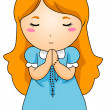 Praying the Rosary - Stock Vector