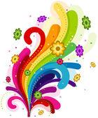 Floral Rainbow Design Element — Stock Vector