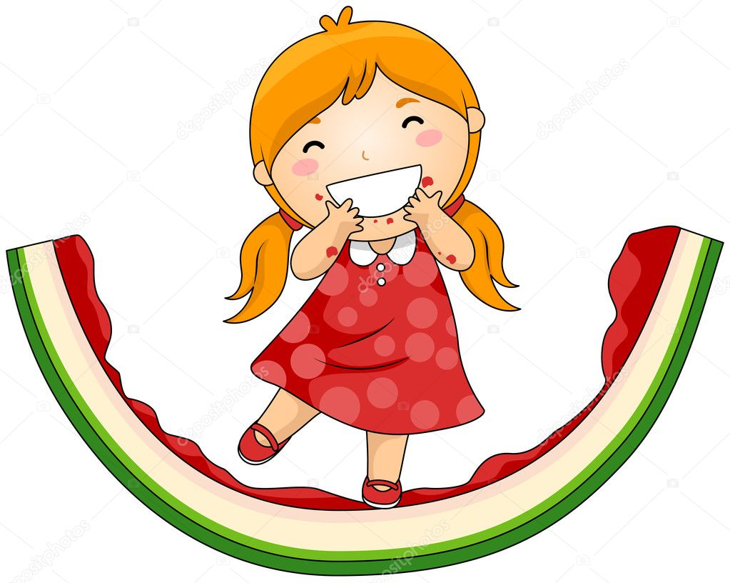Girl on Eaten Watermelon with Clipping Path — Stock Vector #2432096