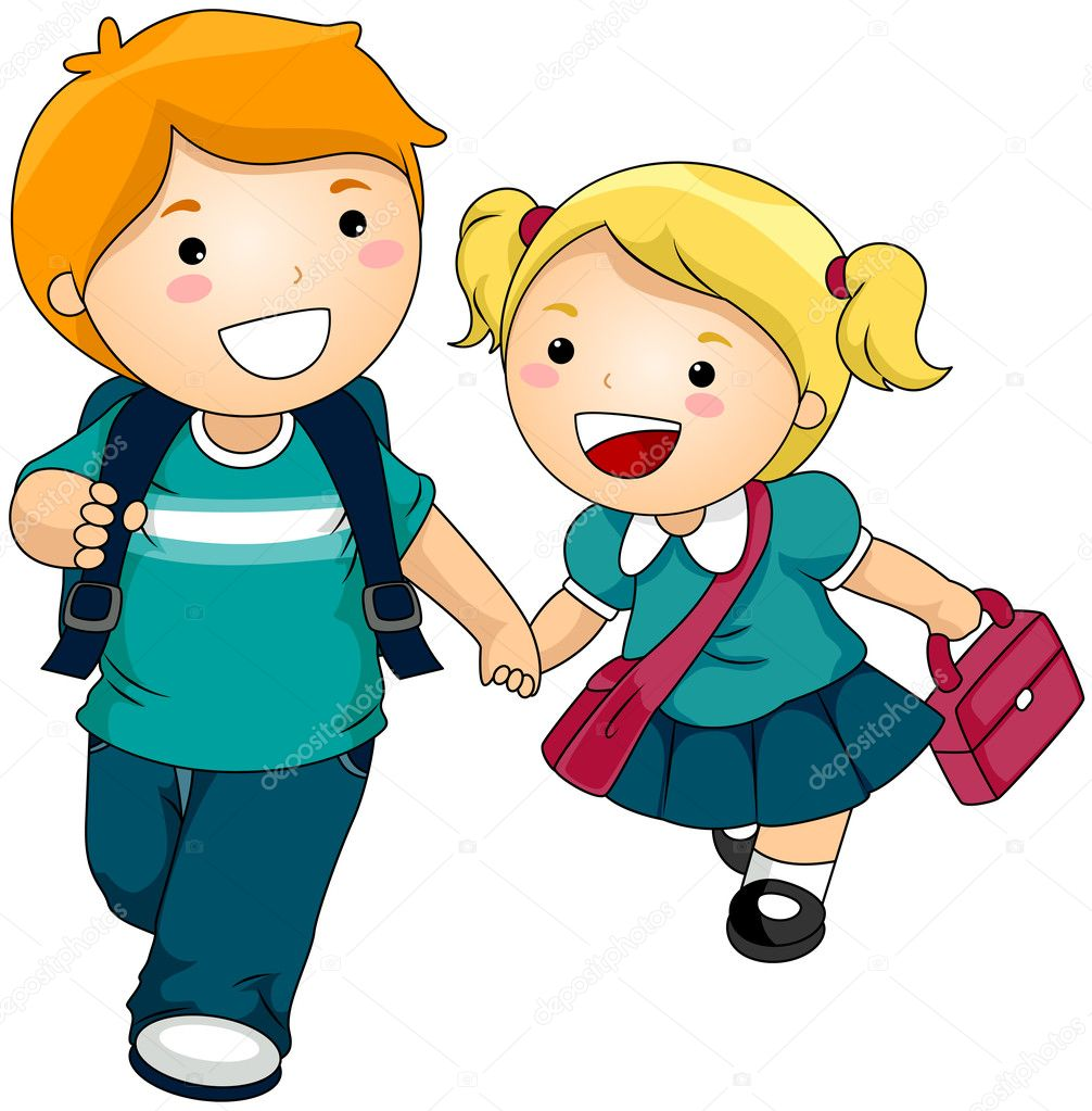 Siblings going to School with Clipping Path — Векторная иллюстрация #2432109