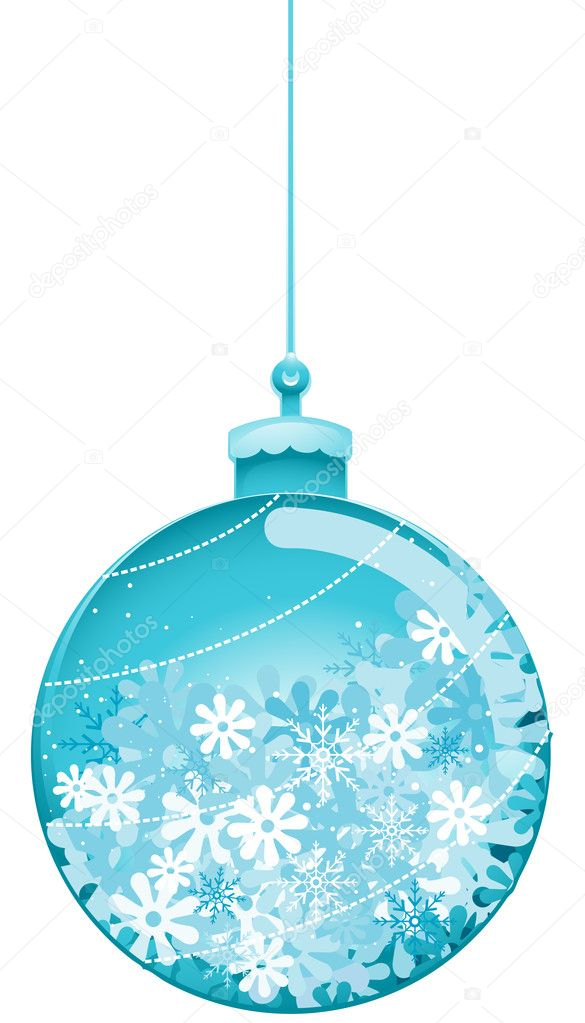Christmas Bauble with Snowflakes with Clipping Path — Векторная иллюстрация #2432185