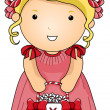 Stock Vector: Flower Girl