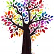Stock Vector: Rainbow Colored Tree