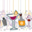 Stock Vector: Cocktails On Strings