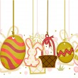 Easter Objects On Strings — Stockvektor