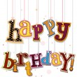 Happy Birthday Greeting On Strings - Stockvectorbeeld