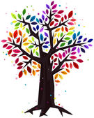 Rainbow Colored Tree — Stock Vector