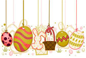 Easter Objects On Strings — Stock Vector