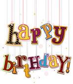 Happy Birthday Greeting On Strings — Stock Vector