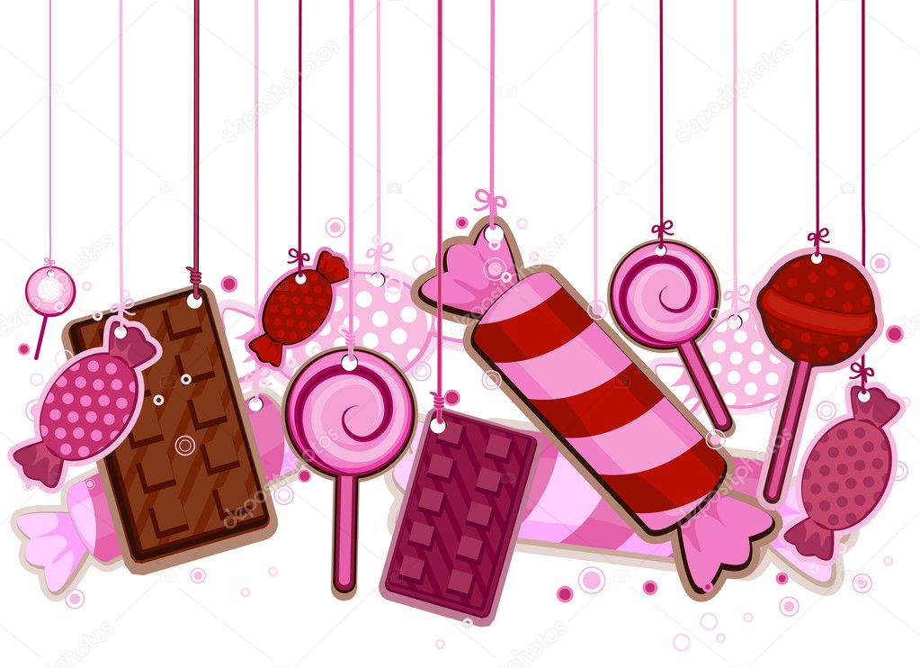 Candies On Strings with Clipping Path  Stock Vector #2440698