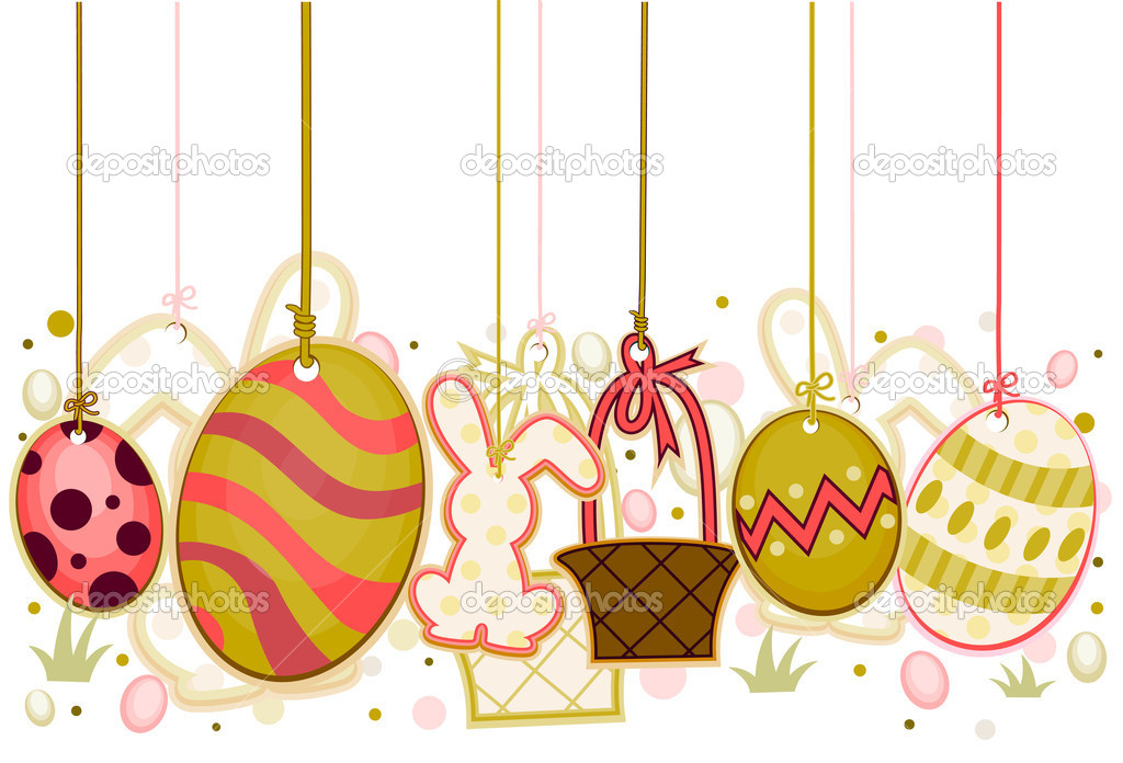 Easter Objects On Strings with Clipping Path — Stock Vector #2440706