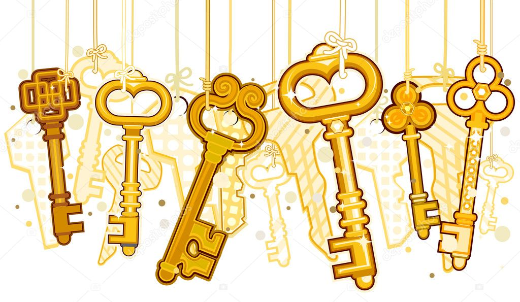 Gold Keys On Strings with Clipping Path  Stock Vector #2440708