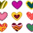 Funky Heart Patches - Stock Vector