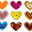 Funky Heart Patches — Stock Vector