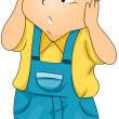 Kid Covering his Ears - Stock Vector