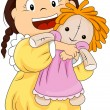 Child hugging her doll - Stock Vector