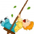 Child on Swing — Stock Vector