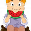 Royalty-Free Stock Vector Image: Child eating watermelon