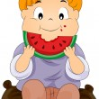 Stock Vector: Child eating watermelon