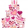 Heart Cake - Stock Vector