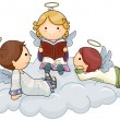 Story telling Angel — Vector de stock #2576357