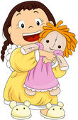 Child hugging her doll — Stock Vector