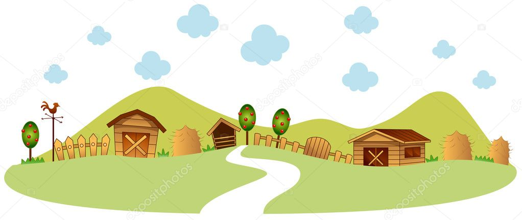 农场例证与剪切路径 — 图库矢量图片#2576271