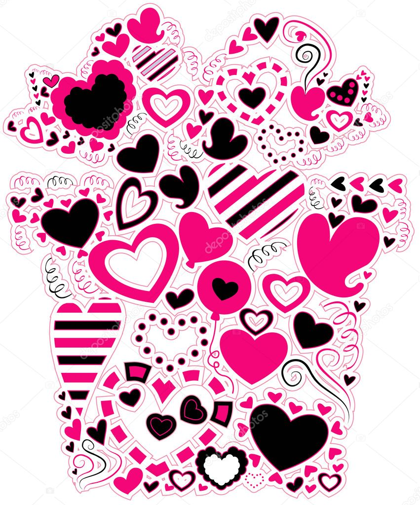 Heart Doodles shaped as a Gift with Clipping Path  Stock Vector #2576332