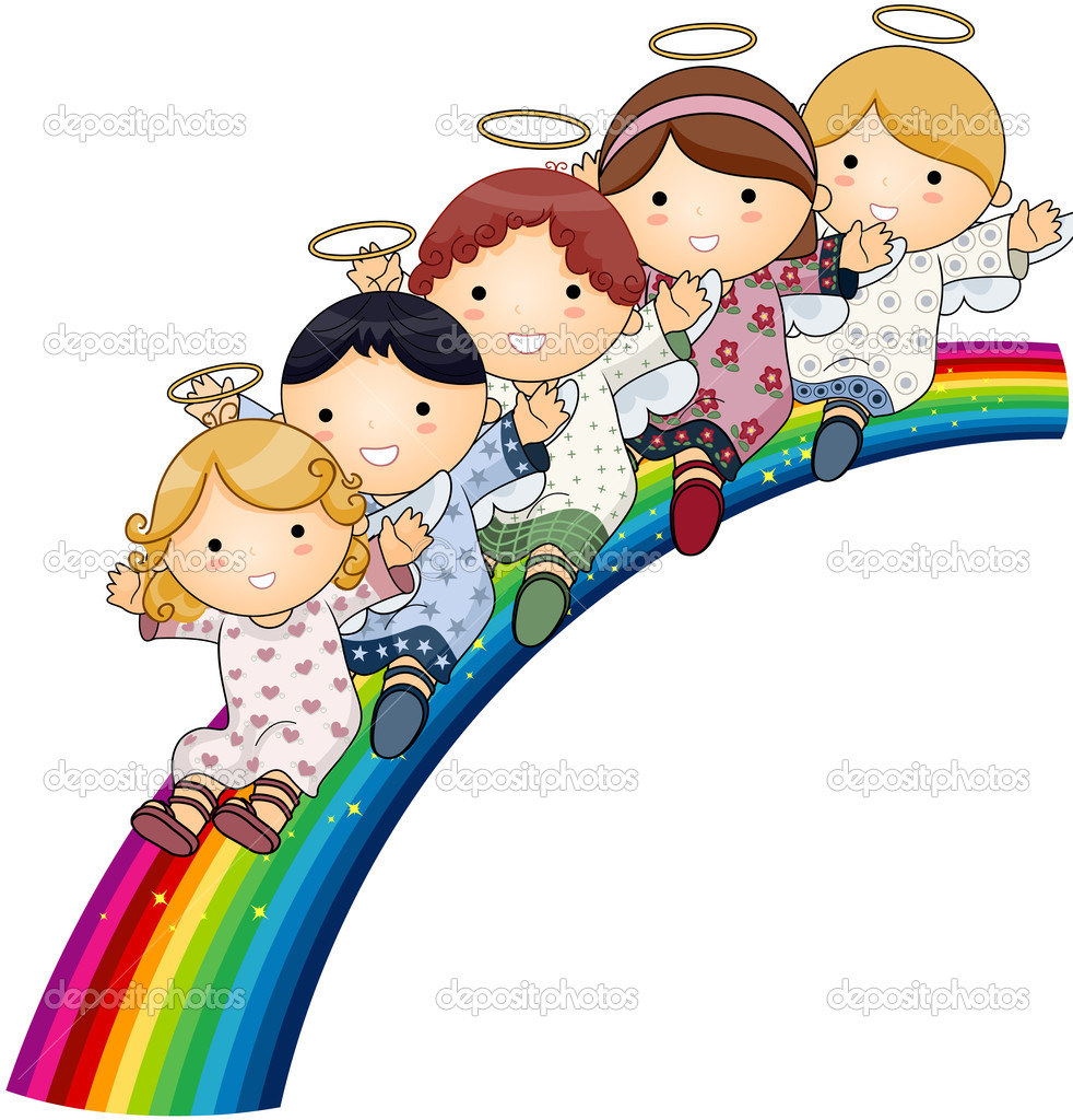 Angels on Rainbow with Clipping Path — Imagen vectorial #2576366