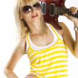 Guitar on shoulder — Stock Photo