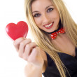 Woman holding Valentines Day heart — Stock Photo