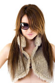 Woman wearing fur jacket — Stock Photo