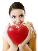 Woman offering her heart — Stock Photo