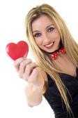 Donna con cuore san valentino — Foto Stock