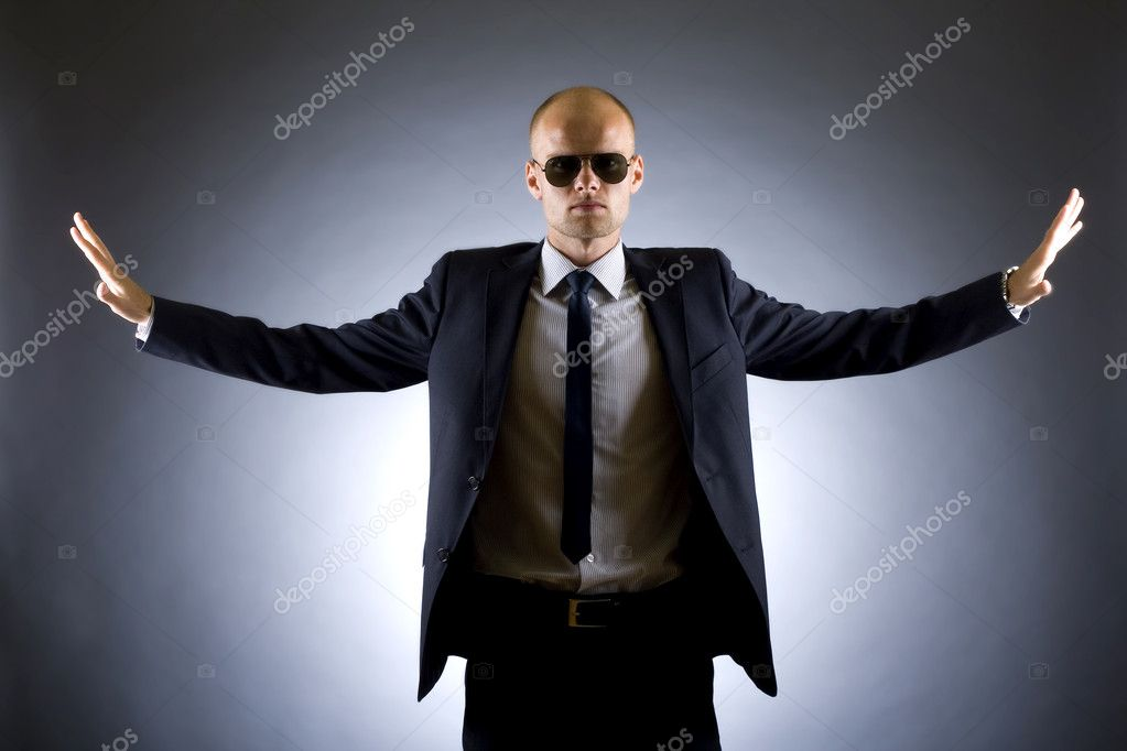 Picture of a successful businessman with arms open — Stock Photo #2333432