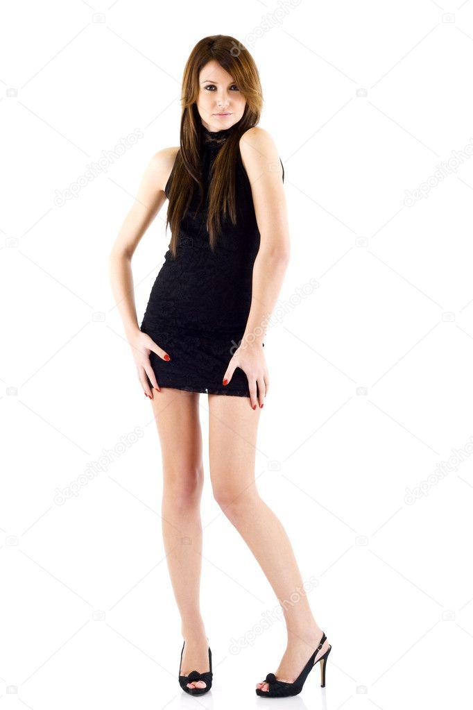 Woman in short black dress — Stock Photo © feedough -2333529