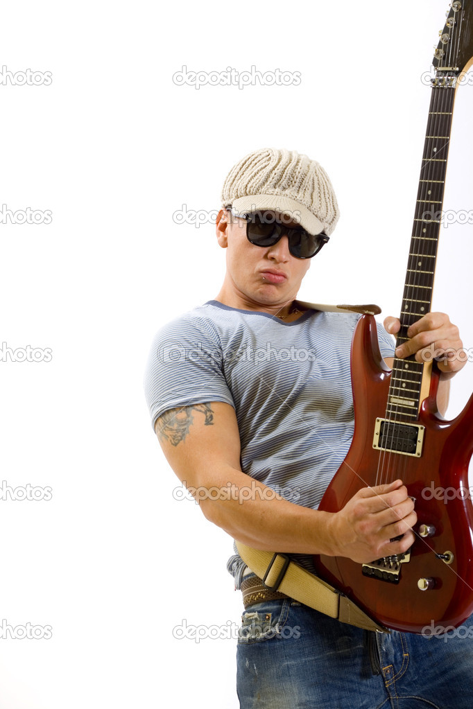 guy playing electric guitar stock photo feedough 2333999. Black Bedroom Furniture Sets. Home Design Ideas