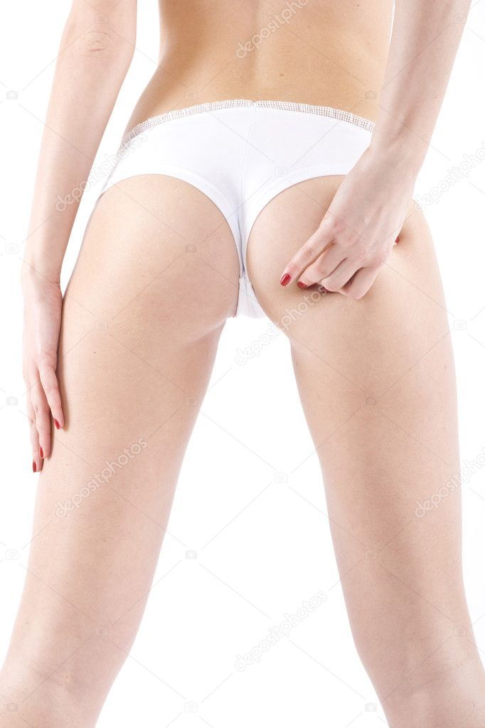 Woman ass probe hand on white background  Stock Photo #2334219