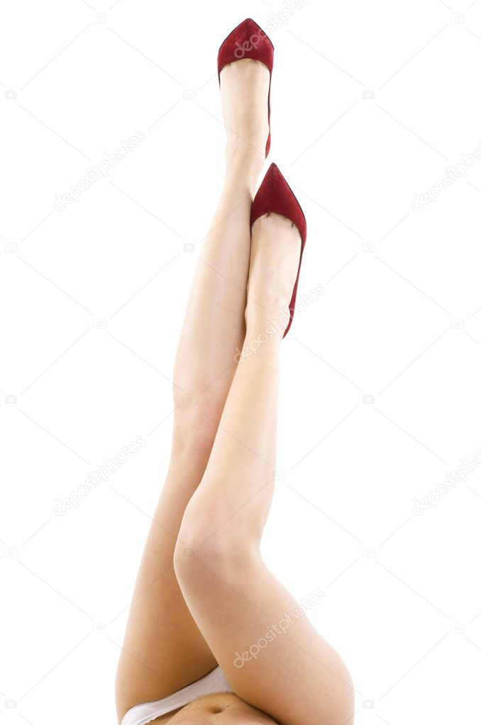 Attractive sexy female legs with high heels isolated on white background  Stok fotoraf #2334240