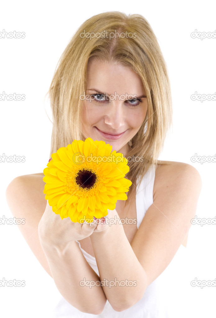 Full isolated portrait of a beautiful caucasian woman with a gerbera , focus on the flower — Stock Photo #2334242