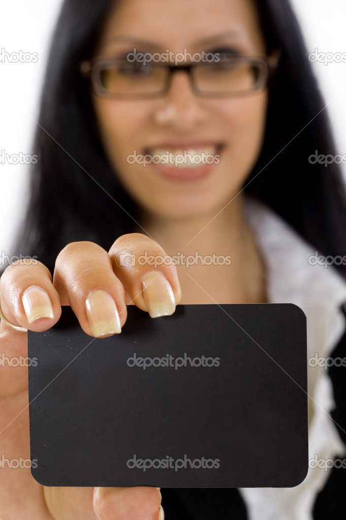 Closeup picture of a businesswoman showing blank card on white — Foto Stock #2334278