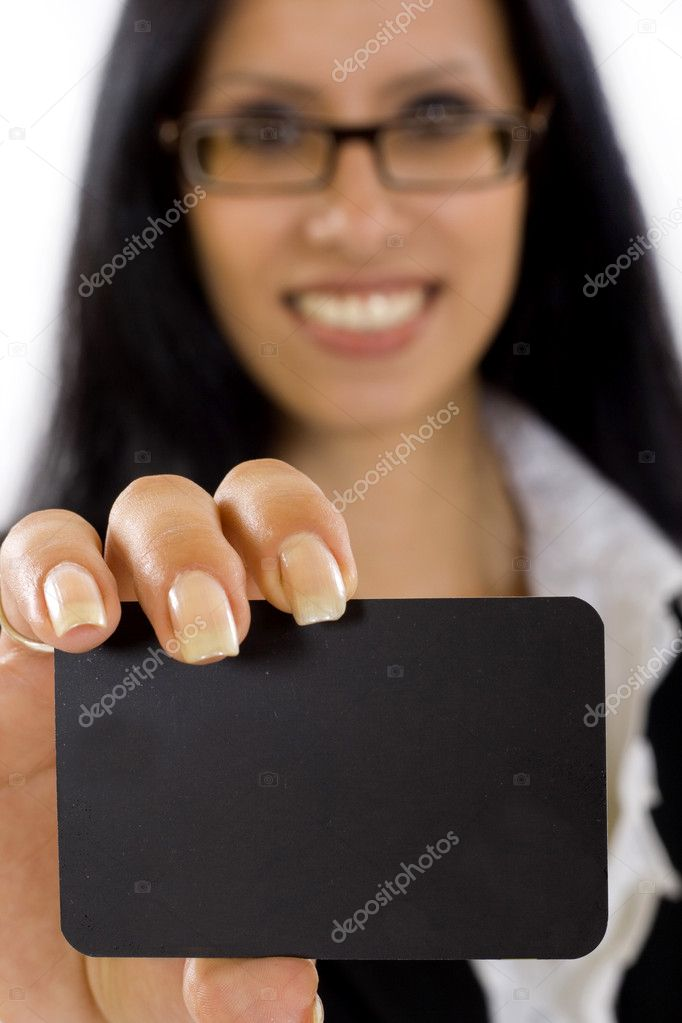 Closeup picture of a businesswoman showing blank card on white — Стоковая фотография #2334278