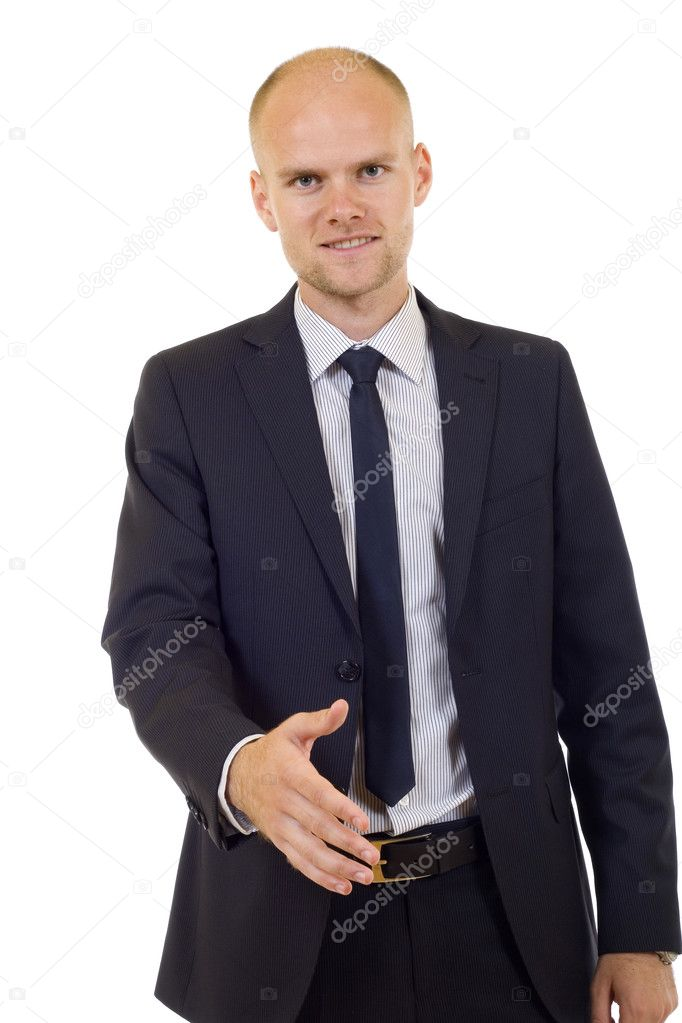 Young successful businessman waiting for handshake, isolated on white — Stock Photo #2334364