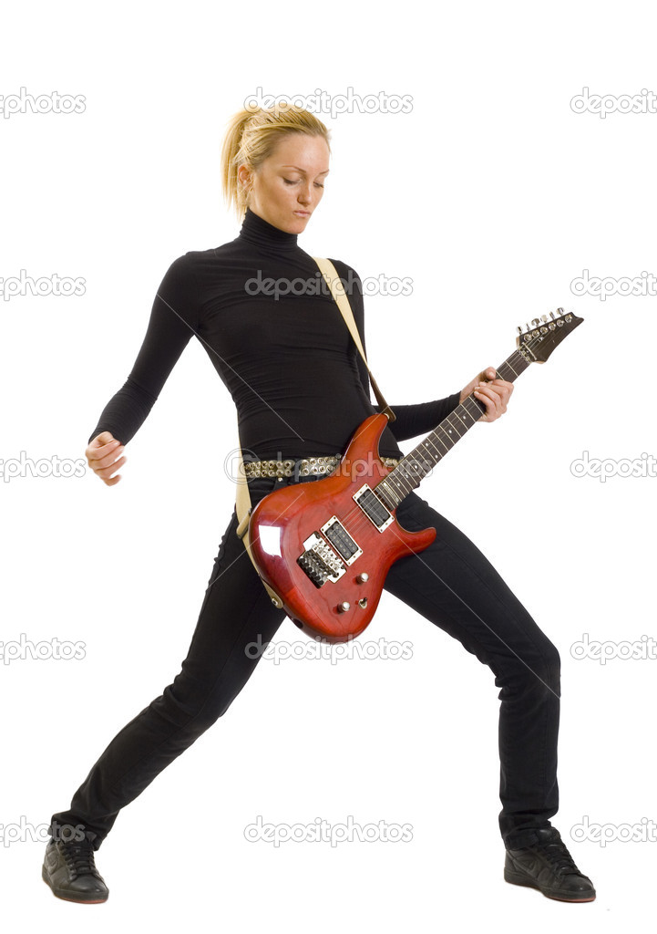 Girl with red electric guitar over white — Stock Photo #2334429