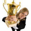Businesswoman winning a gold trophy — Stock Photo