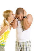 Woman shouting and screaming at her boyfriend — Stock Photo